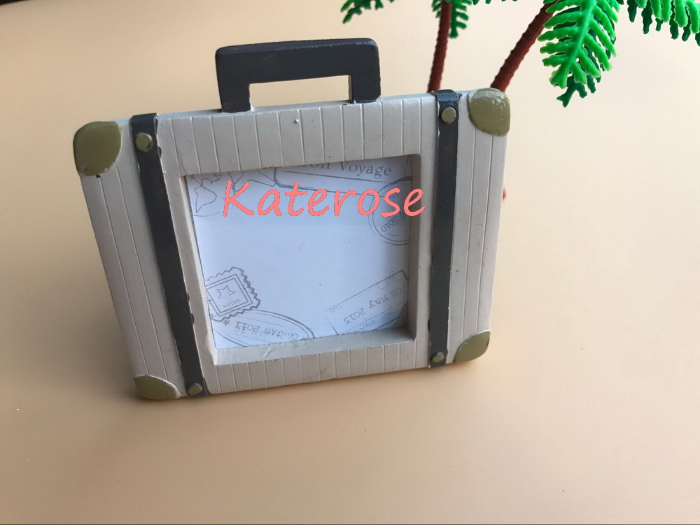 FREE SHIPPING(10pcs/Lot)+Let the Journey Begin Vintage Suitcase Picture Frame Place Card Holder Destination Wedding Favors