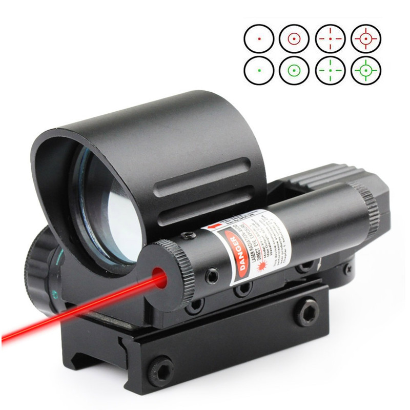 Airsoft Tüfek Taktik Combo Holografik 4 Reticle Yeşil/Red Dot Sight Kapsam Kırmızı Lazer ile Kırlangıç Refleks Sight Optik
