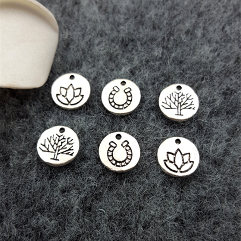 50 ADET Antik Gümüş Dairesel Oyma Lotus Su Kestane Tree of Life Charms Dangle Charm DIY Takı Aksesuarları Charms