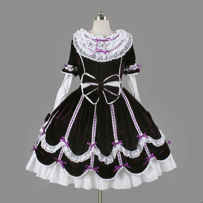 Ll24 uzun kolsuz tatlı lolita kısa dress balo fantezi balo dress halloween party masquerade kostüm
