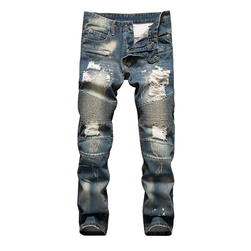 Erkekler Jeans Denim Pantolon Ripped Hip Hop Slim Fit Moda Pleats Pantolon Oymak