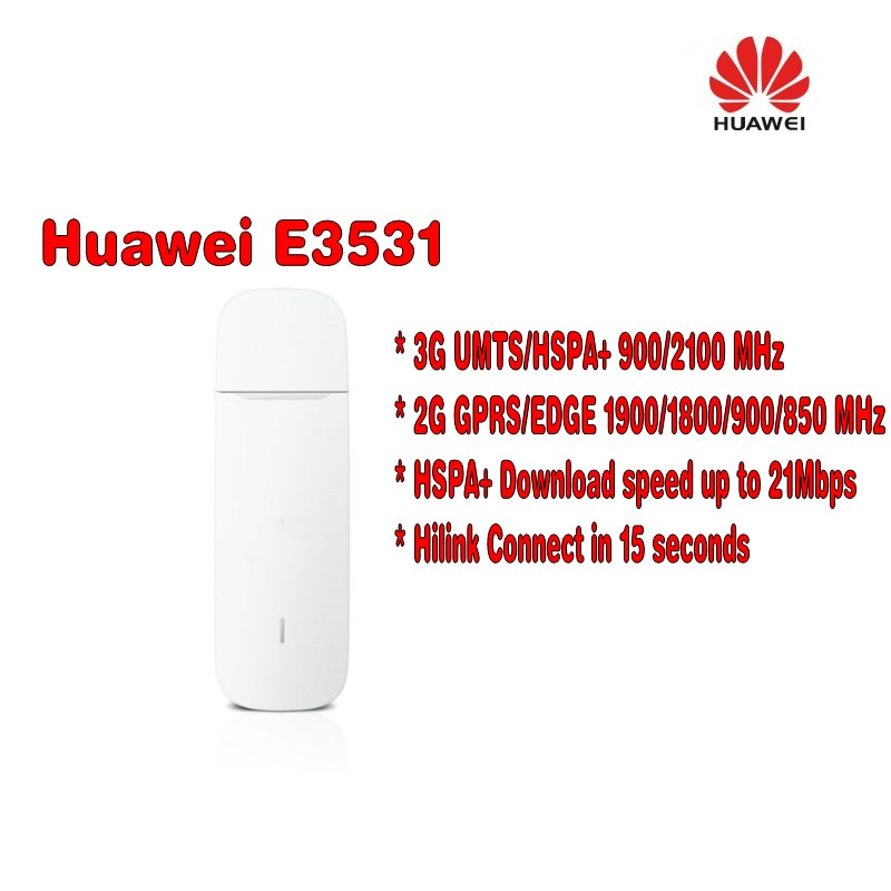 UNLOCKED HUAWEI E3531 USB DONGLE HSPA + 3G/4G/21 mbps H-link